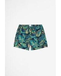 Sunspel Swim Short Liberty Rainforest Print Navy - Blue