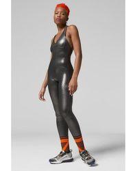 adidas By Stella McCartney Alles in einem glänzenden Bodysuit Silber metallisch schwarz - Mettallic