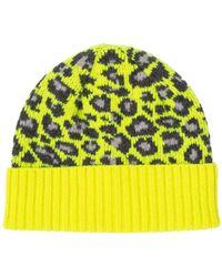 Paul Smith Leopard Beanie Hat Neon Yellow