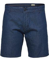 SELECTED Selected Bermuda En Jeans Imprime - Bleu