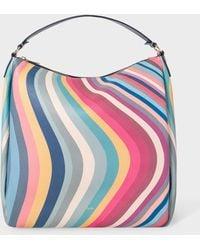 Paul Smith Borsa hobo in pelle con stampa a spirale di primavera - Multicolore