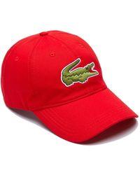 Lacoste Contrast Strap Crocodile Cotton Cap Red - Rojo