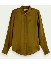 Maison Scotch Camisa manga larga seda escocesa ver oliva - Verde