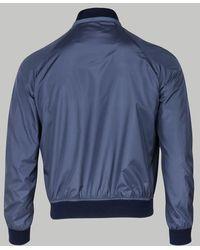 Brioni Blouson aviateur en soie bleue