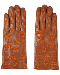 Paul Smith Leather Gloves With Leopard Pattern Detailing Camel - Orange