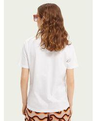 Maison Scotch T Shirt Graphique Scotch Soda Blanc