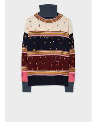 Paul Smith Multicolour Striped Roll Neck Jumper With Knot Stitch - Blue