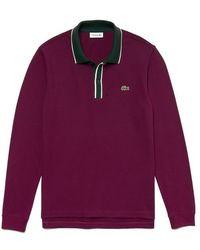 Lacoste Regular Fit Cotton Pique Polo Shirt Bordeaux White Green 3 Mt - Purple