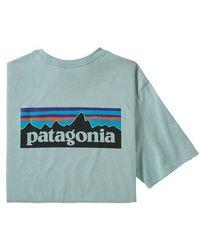 Patagonia P 6 Logo Responsibili Tee Big Sky Blue