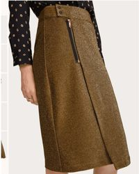 Scotch & Soda Gold Lurex Pencil Skirt With Zip - Multicolour