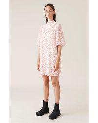 Ganni Bedrucktes Georgette Minikleid - Pink