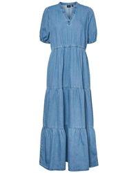 Vero Moda Robe en jean étagée - Bleu