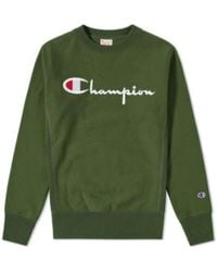 Champion Reverse Weave Script Logo Crew Sweat Bottle Green - Vert