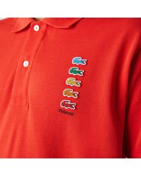 Lacoste X Polaroid Coloured Crocodiles Classic Fit Polo Shirt Red - Rojo