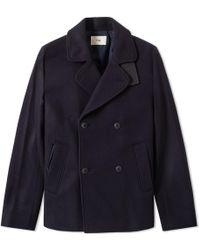 Folk Navy Db Overcoat - Blue