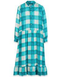 Paul Smith Aqua Ruffle-hem Check Midi Dress - Blue