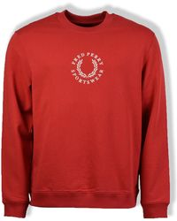 Fred Perry Washed Red Branded Sweatshirt