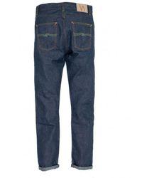 Nudie Jeans Jeans Selvage in bambù asciutto Lean Dean Bloodline L32 Indigo - Blu