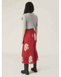 Ganni Pleated Georgette Skirt Lollipop - Red