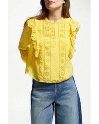 Maison Scotch Embroidered Frill Blouse - Yellow