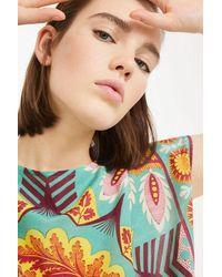 Weekend by Maxmara Emerald Papilla Silk Kimono Sleeves Chinese Crepe Top - Multicolour