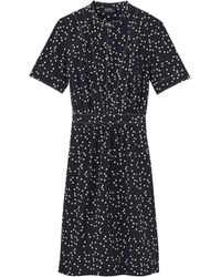 A.P.C. Vestido Camille con estampado de corazones azul marino - Negro
