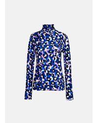 Essentiel Antwerp Top cuello polo manga larga azul y púrpura l leopardo Aki