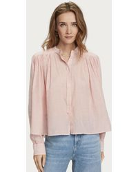 Maison Scotch Loose Shirt With Pleating In Red Stripe - Pink