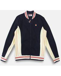 Fila Settanta Baseball Track Jacket Peacoat Gardenia Chinese Red - Blu