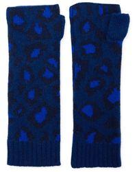 The West Village Navy Blue Leopard Wrist Warmers