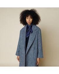 Folk Robe Twill Coat Blue Melange Made In Portugal
