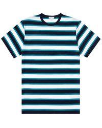 Sunspel Camiseta clásica con cuello redondo, azul marino, raya verano blanca petróleo brillante