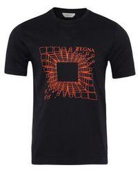 Z Zegna Camiseta de Algodón Azul Marino