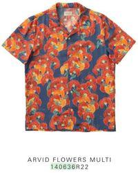 Nudie Jeans Camicia floreale a maniche corte in cotone organico Arviid - Multicolore