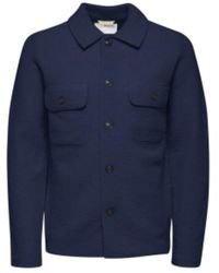 SELECTED Wool Workwear Jacket Navy Blazer - Blue