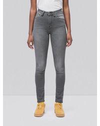 Nudie Jeans Delave Grey High Waist Skinny Jeans In Organic Cotton Hightop Tilde Grey Wash