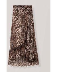 Ganni Gonna Leopard Wrap - Marrone
