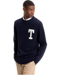Tommy Hilfiger Suéter marino de algodón de la marina de guerra - Azul