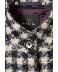 Paul Smith Cream Navy Collarless Houndstooth Coat - Multicolour