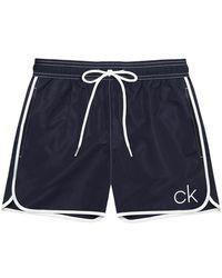 Calvin Klein Short Runner Badeshorts Blue Shadow - Schwarz