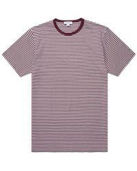 Sunspel T-shirt classique à rayures anglaises bordeaux blanc - Multicolore