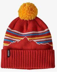 Patagonia Bonnet Powder Town Fitz Roy Retro Stripe Knit Hot Embe - Rouge