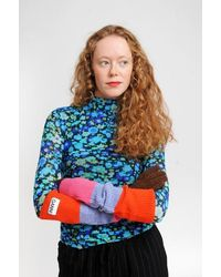 Ganni Gloves In Fiery Red - Multicolour
