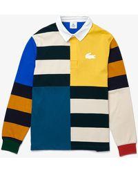 Lacoste Polo da uomo da rugby in cotone a blocchi di colore con vestibilità ampia - Multicolore