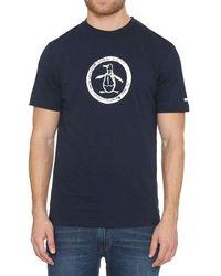 Original Penguin Distressed Circle Logo T-shirt Zafiro Oscuro - Azul
