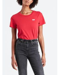 Levi's - Red Cotton Graphic Surf Chest Flock T Shirt - Lyst