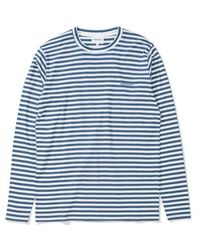 Norse Projects Annodized Blue James Logo Stripe Shirt
