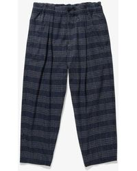 YMC Sylvian Trousers Navy Check - Blue
