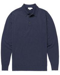 Sunspel Long Sleeve Merino Polo Shirt Light Navy - Blue