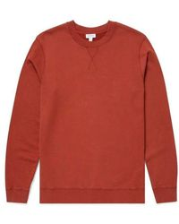 Sunspel Loopback Sweatshirt Brick - Red